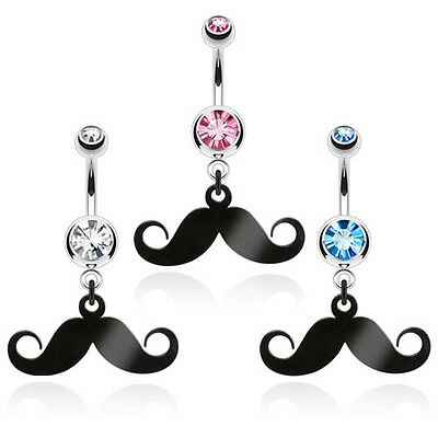 B#57 - 3pc Mustache Belly/Navel rings wholesale lot Clear, Pink and Blue Gems