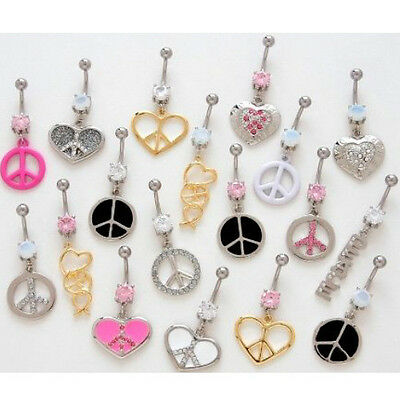10pc Peace Mix Dangle Belly Rings Navel naval Wholesale Lot (B27)