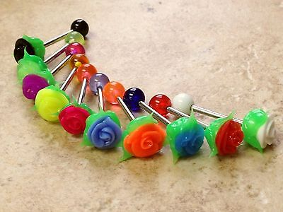 T#59 - 10pc Silicone Rose Tongue Rings Tounge 14g