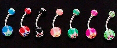 B#233 - 27pc Double Star UV Acrylic Belly Rings 14 gauge 14g Navel Naval