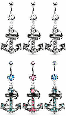 6pcs Paved Gem Anchor Belly Rings Navel Wholesale Body Jewelry (B128)