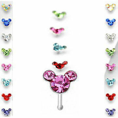 *CLOSEOUT* 40ct Mouse Shaped Gems .925 Sterling Silver Nose Ring Studs w/Display