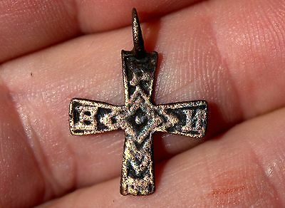 Very Old Middle Ages Medieval Small Copper Cross Artifact