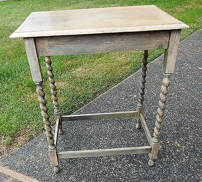Vintage Grey Weathered Oak Barley Twist Side / Occasional / End / Entry Table