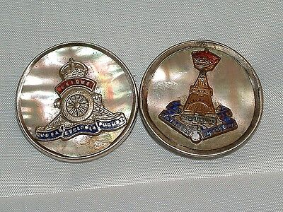 2 x Military mother of Pearl Silver Sweetheart Badges