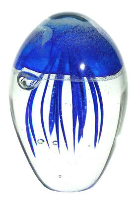 Glass Dark Blue Jellyfish Oblong Shaped Glass Paper Weight