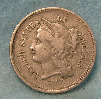 1867 Three Cent Nickel FINE * Circulated US Coin #868