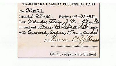 WWII-Temporary Camera Pass-Pacific Theater-Pearl Harbor-Naval Ephremera
