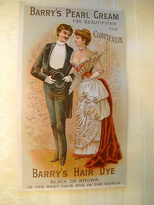 BARRY'S PEARL CREAM Victorian TRADE CARD CHROMOLITHOGRAPH fancy dressed couple