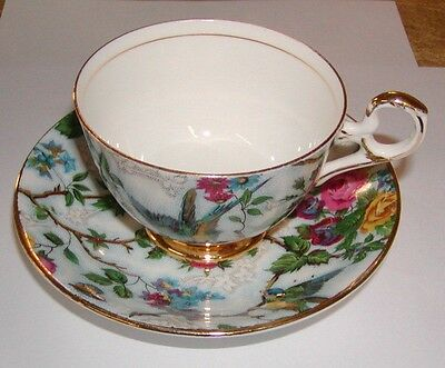 Old Royal Bone China Lorna Doone Chintz Cup & Saucer Teacup Blue Bird