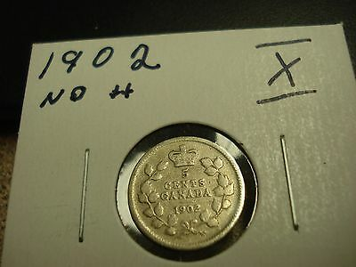 1902 - Canada - Silver Five cent - Circulated nickel - Nice Coin -