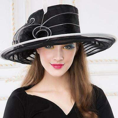 Women's Kentucky Derby Church Wedding Noble Dress hat organza feather hat @SY