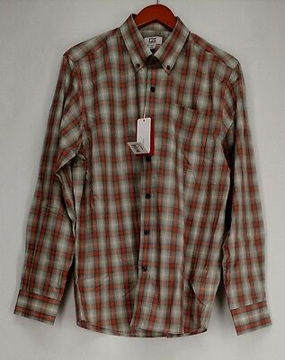 Cutter & Buck Size M Printed Long Sleeve Button-Front Shirt Gray New