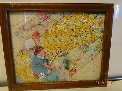 Antique Framed Quilt and Dollies w/ Boy and Girl Playing Marbles