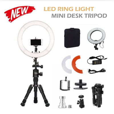 "Dimmable 14"" 40W LED Ring Light Mini Desk Tripod Light For Beauty Make Up Studio"