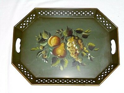 """Antique Vintage Nashco Tole Painted Serving Tray Fruit On Green Metal15X20"""""""