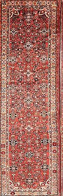 All-Over Traditional Coral Runner 3x10 Hamadan Persian Oriental Rug 10' 5 x 3' 3