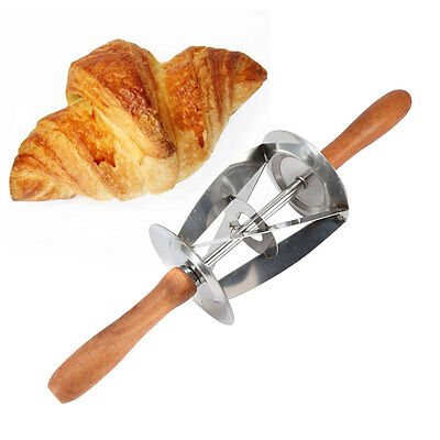 Wooden Handle Stainless Steel Rolling Dough Cutter Knife for Making Croissants