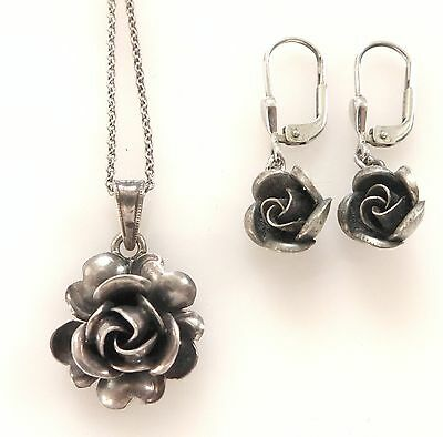 Vtg Rose Flower 925 Silver Earrings Pendant Necklace Set 3D Art Nouveau Sculpted