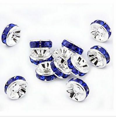Free Shipping 50Pcs Silver Plated Blue Acrylic Loose DIY Spacer Beads 8mm
