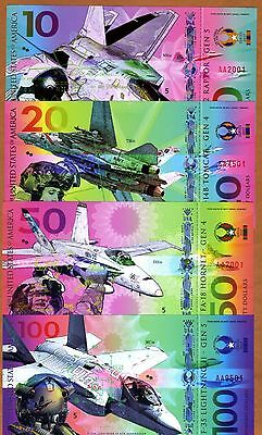 USA, Set, $10;20;50;100 Private Issue Polymer, UNC > Military Fighter Jets