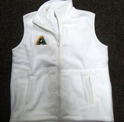 Lawn Bowls Polar Fleece Fleecy Vest White BA logo Ladies & Mens Bowls Australia