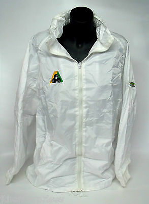 Lawn Bowls Wet Weather Waterproof Lined Rain Jacket BA Logo  WHITE  With Hood