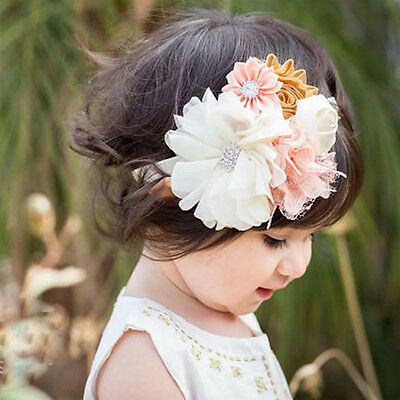 Girls Kids Baby Cute Hair Band Soft Elastic Headband Sweet Lace Flower Head Wrap