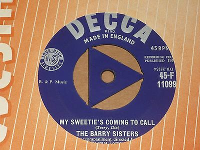 """Barry Sisters """"My Sweetie's Coming To Call"""" Decca Tri 45"""