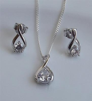 Diamonique 1.0 Carat Sterling Silver Pendant With Chain And Earrings Set New Qvc