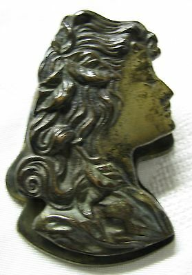 Antique Art Nouveau Victorian Judd Bronze Iron Mucha Lady Desk Clip