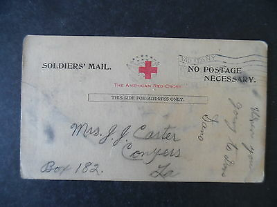 WWI Red Cross Soldier Mail Safe Arrival Postcard Leroy Varnon to Louisiana
