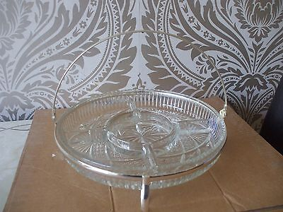 Vintage retro Queen Anne Silver Plated & Glass 5 Section Buffet Tray Dish