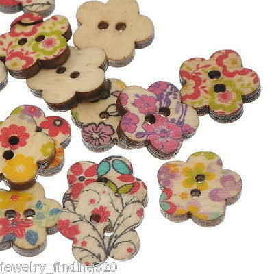 100PCs Wooden Buttons Flower Pattern Mixed Fit Sewing and Scrapbook