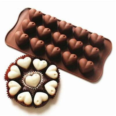 15 Love Heart Silicone Mould Romantic Wedding Chocolate Cake Baking Icing Ice LC