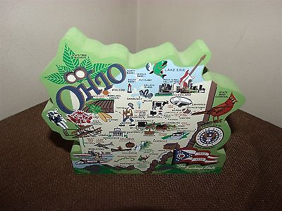 Cat's Meow Ohio State Map The Buckeye State Wooden Shelf Sitter Faline 2002