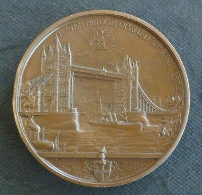 Tower Bridge Opening, Queen Victoria City Of London 1894 Large Bronze Medallion