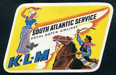 KLM South Atlantic Service ca 1949 Airline Baggage Label Sticker
