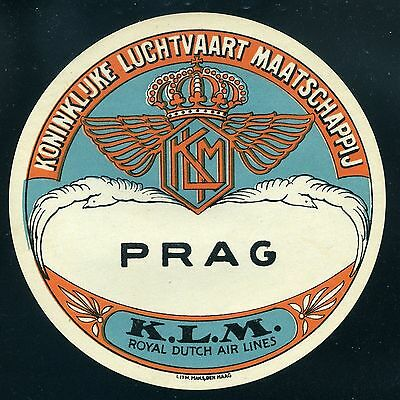KLM Royal Dutch Air Lines Prag Late 1920's  Airline Baggage Label Sticker