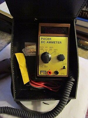 Vintage Pacer DC Ammeter Model DC-801 in case -  steam punk - LUDLOT