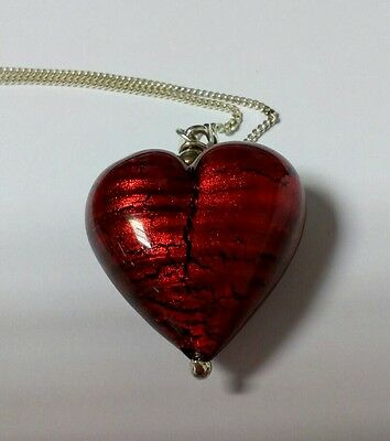 """'Murano Glass' style  Sterling Silver Heart Pendant with 60cm/24"""" curb chain"""