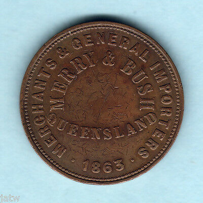 Australia Token.  Merry & Bush - 1863 1d..  Queensland   VF