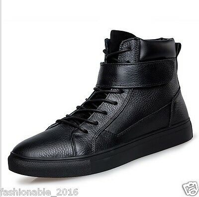 Fashion men's Breathable casual real leather shoes Retro Martin boots size 9.5
