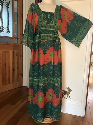 Vintage Cotton Gauze Kaftan Dress 70s Boho Festival Tree Print Stunning 10/12