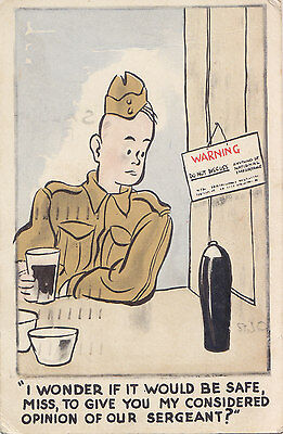 """My Opinion of our Sargeant"" 1943 Wilkinson Signed Postcard from Trenton Ontario"