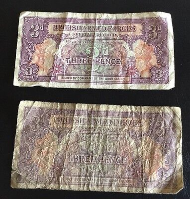 2 x BRITISH ARMED FORCES – 3d BANKNOTES ~ £3.95 Start