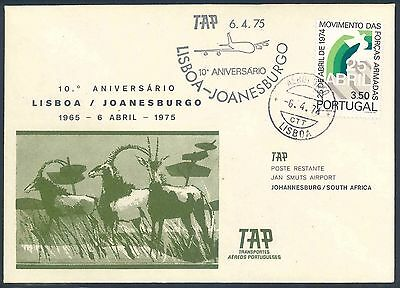 TAP Airways 1975 Anniversary Flight Cover from Portugal to South Africa
