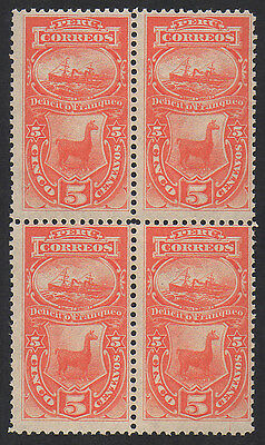 Peru, 1874 5c red Postage Due unmounted mint block of 4.