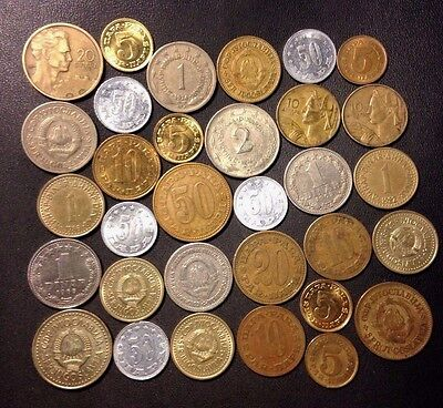 Old Yugoslavia Coin Lot - Cold War - 32 Great Coins - Lot #J17