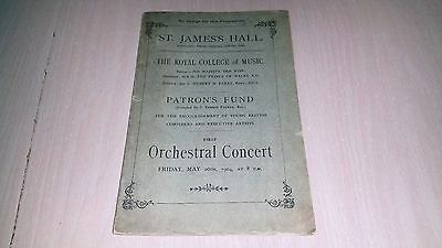 ST. JAMES'S HALL The Royal College Of Music Vintage 1904 Concert Program Book